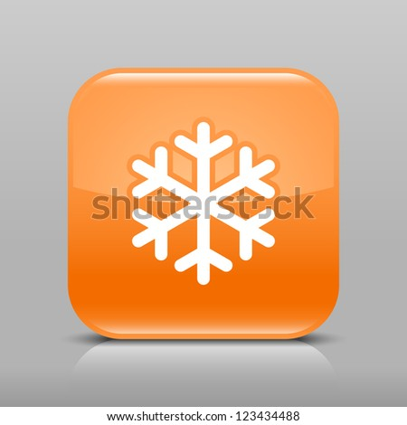 Orange glossy web button with low temperature sign snowflake symbol. Rounded square shape icon with shadow and reflection on light gray background. This vector illustration web design element in 8 eps - stock vector