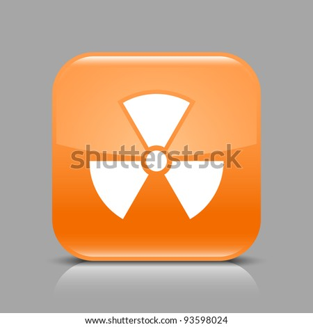Orange glossy web button with radiation sign. Rounded square shape icon with black shadow and light reflection on gray background. This vector saved in 8 eps. See more buttons in my gallery - stock vector