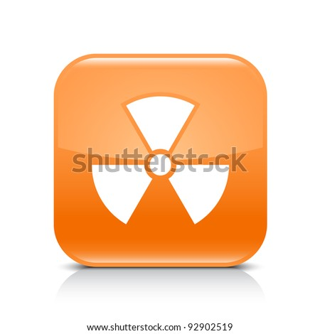 Orange glossy web button with radiation sign. Rounded square shape icon with shadow and reflection on white background. This vector illustration created and saved in 8 eps - stock vector