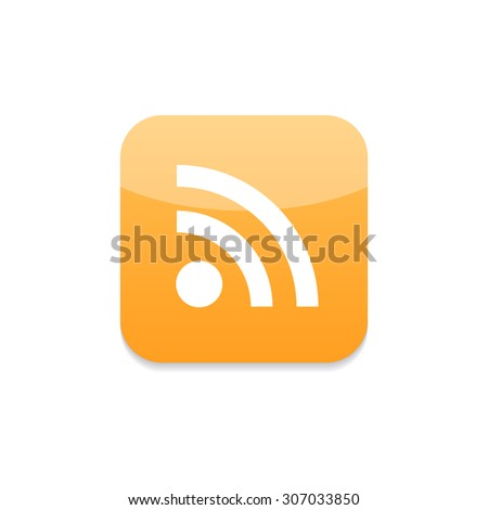 Orange glossy web button with RSS feed sign isolated on white background. Vector illustration.