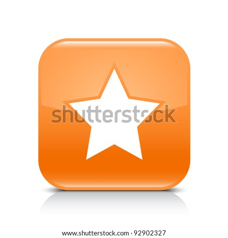 Orange glossy web button with star sign. Rounded square shape icon with shadow and reflection on white background. This vector illustration created and saved in 8 eps - stock vector