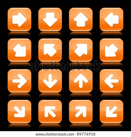 Orange glossy web button with white arrow sign. Rounded square shape internet icon with shadow and reflection on black background. This vector illustration saved in 8 eps