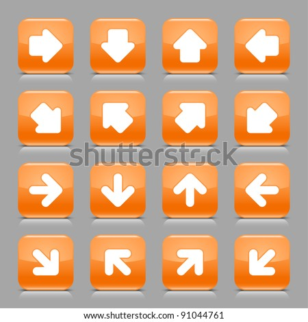Orange glossy web button with white arrow sign. Rounded square shape internet icon with shadow and reflection on light gray background. This vector illustration created and saved in 8 eps