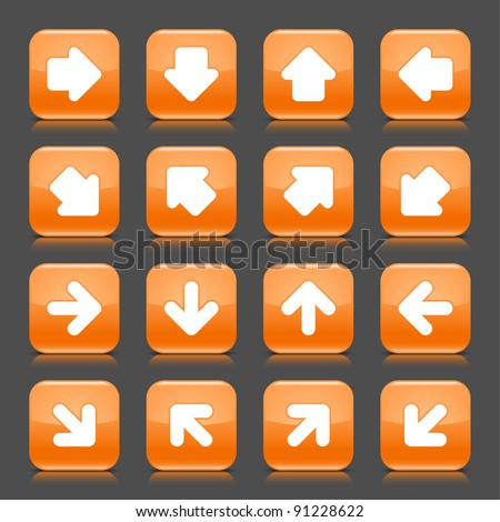 Orange glossy web button with white arrow sign. Rounded square shape internet icon with shadow and reflection on dark gray background. This vector illustration saved in 8 eps