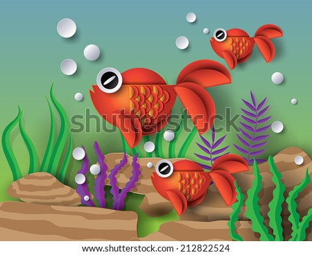 Orange goldfish with bobbles.paper cut style. - stock vector