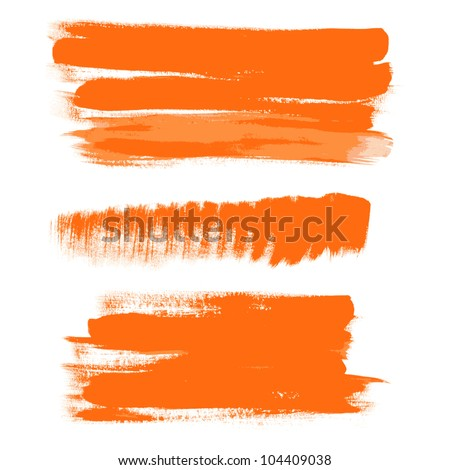 orange gouache brush strokes - the perfect backdrop for your text 1 - stock vector