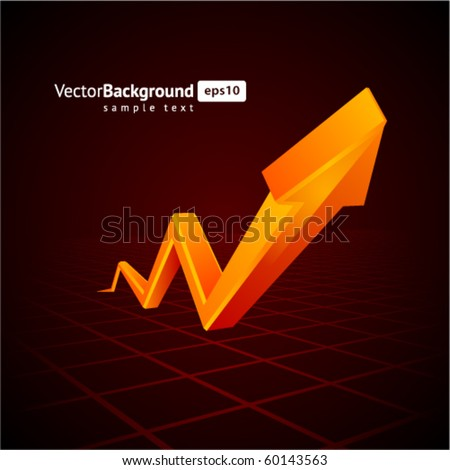 Orange graph  arrow move up vector background - stock vector