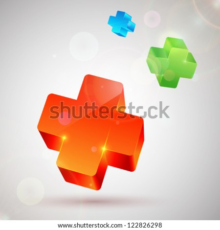 Orange, green and blue plus symbols. Abstract colorful background - stock vector
