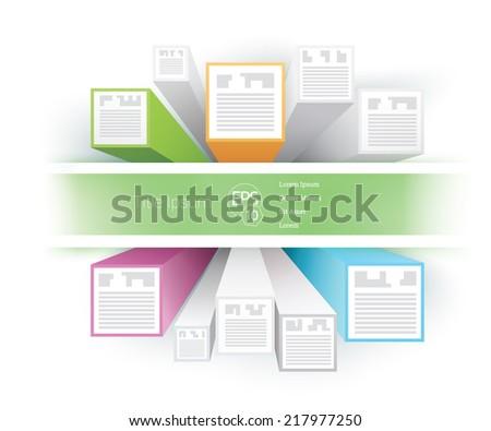 Orange Green Blue Magenta brochure elements set vector  - stock vector