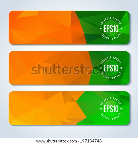 Orange green website header or banner template set with triangle pattern - stock vector