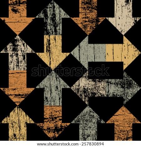 orange grunge arrows on black seamless pattern  - stock vector