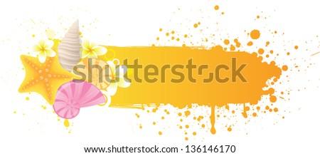 Orange grunge sea banner with decorations of starfish, seashells and plumeria - stock vector