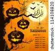 Orange grungy halloween background with scary pumpkins on a tree branch, full moon, and bats.  Vector Illustration. - stock vector