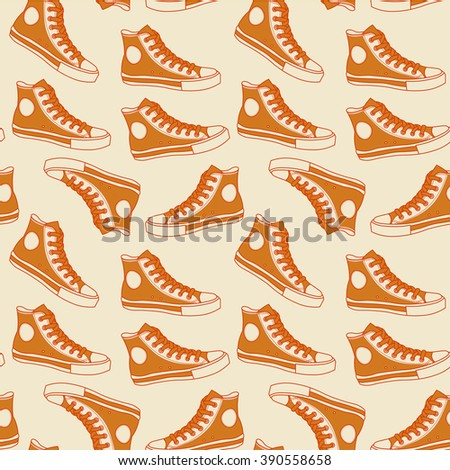 orange gumshoes seamless background hipster design