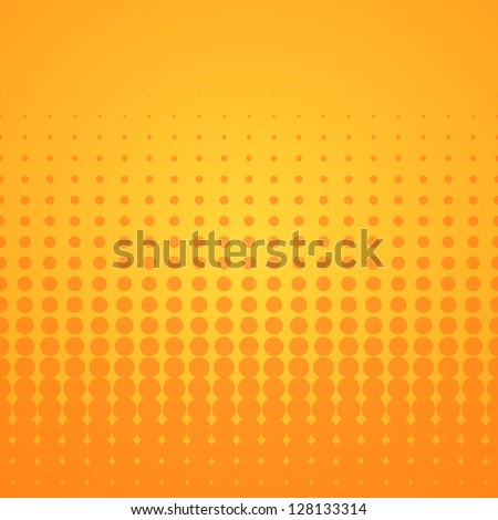 Orange Halftone Pattern - Bright disco background with orange spots on yellow - stock vector