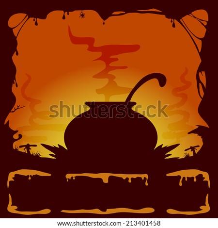 Orange Halloween background with witches cauldron, illustration. - stock vector