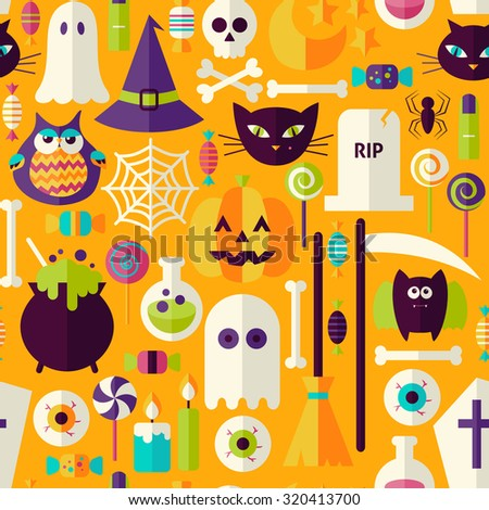 Orange Halloween Trick or Treat Objects Seamless Pattern. Flat Design Vector Seamless Texture Background. Halloween Holiday Template.  - stock vector