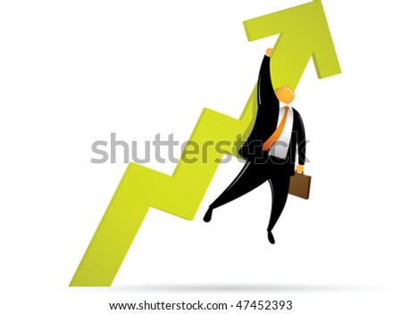 Orange Head Man Going up - stock vector