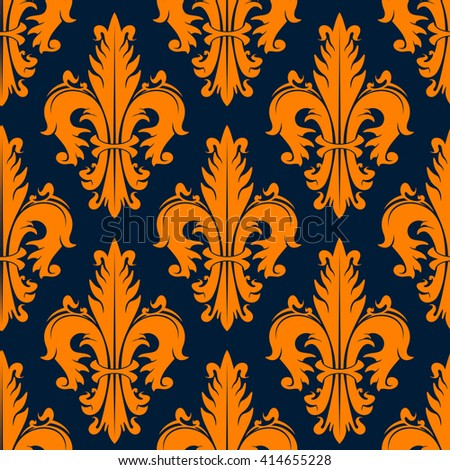 Orange heraldic fleur-de-lis seamless pattern over navy background with stylized fluffy leaves, adorned by curly swirls. Heraldry, history theme or textile print design - stock vector