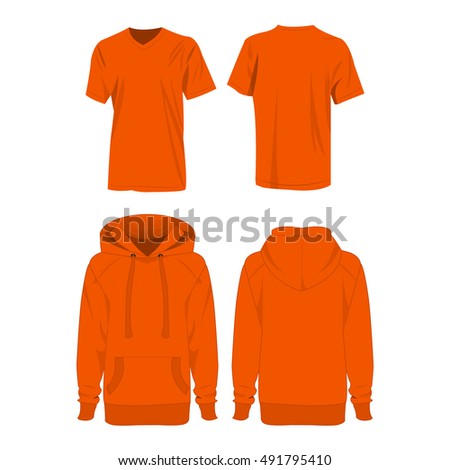 Orange hoodie and t-shirt isolated vector set