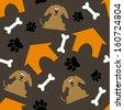 orange house, bone, paw & dog seamless pattern - stock vector