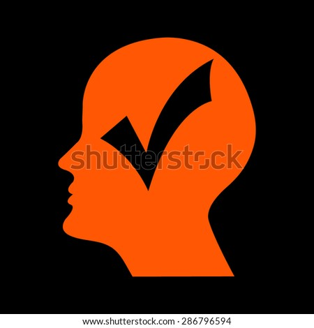 Orange human profile picture  on a black background