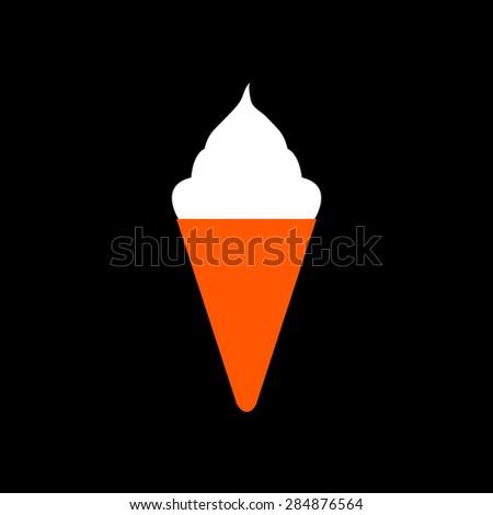 Orange ice cream icon on a black background - stock vector
