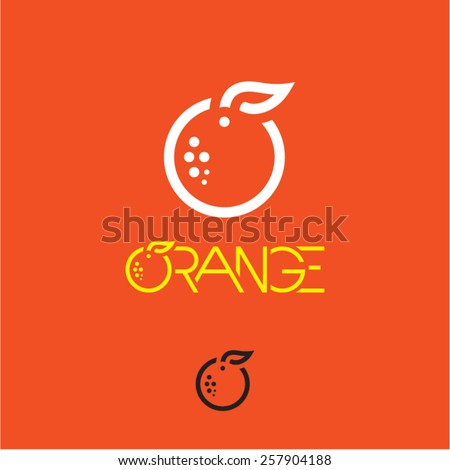 Orange icon. Mandarin icon. Mandarin orange label. - stock vector