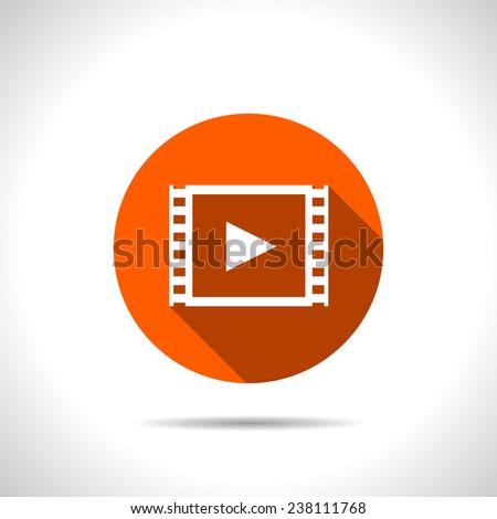 orange icon of video - stock vector