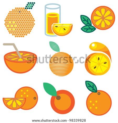 orange icons vector set - stock vector