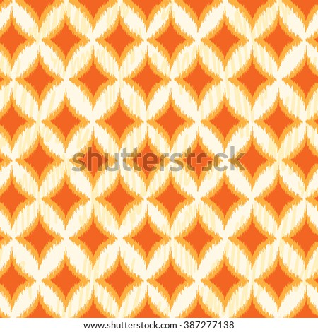Orange Ikat Ogee Seamless Background Pattern. Vector illustration