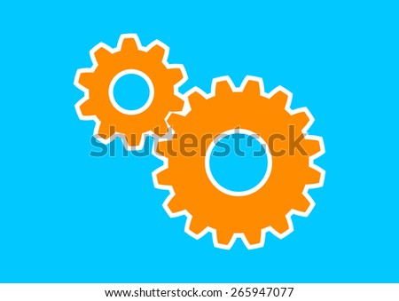 Orange industrial icon on blue background