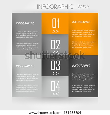 orange infographic 4 corners. infographic concept. - stock vector