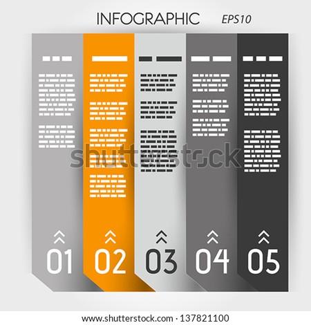 orange infographic five options notebook columns. infographic concept. - stock vector