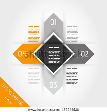 orange infographics with arrows and square in middle. infographic concept.