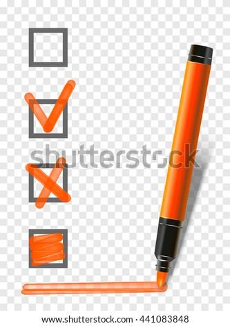 orange isolated marker highlighter pen with checklist, tick and underline. Vector marker exam pen  - stock vector