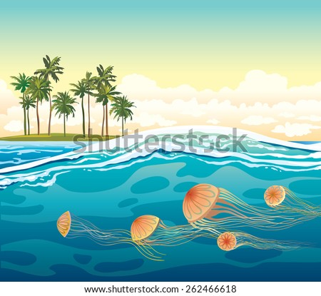 Orange jellyfish in the blue sea and green island with coconut palm. Vector tropical seascape.  - stock vector