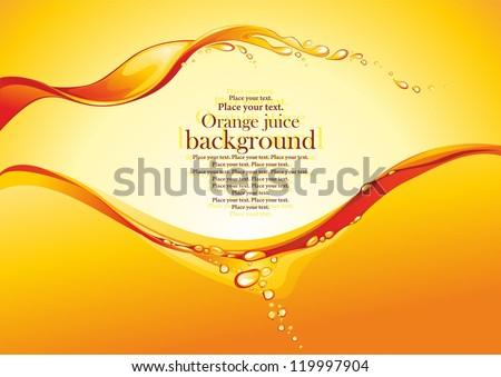 Orange juice background. Vector illustration. - stock vector