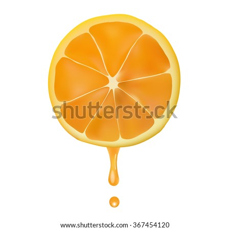 orange juice from dripping - stock vector