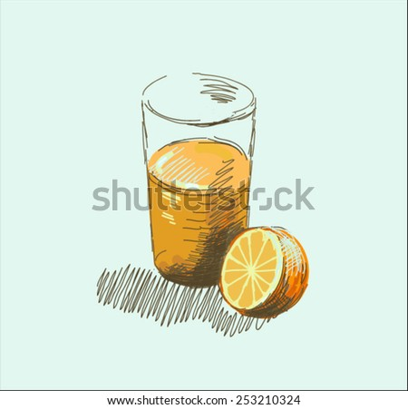 orange juice in glass and orange  - stock vector