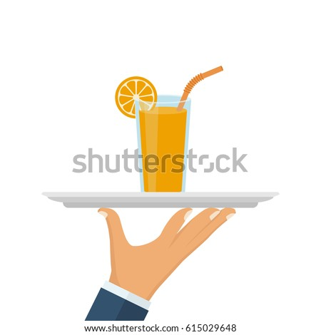 Orange juice in glass cup on tray in hand of waiter.  Vector illustration flat design. Isolated on white background. Healthy food. Useful natural drink. Tropical refreshing drink. Vitamins breakfast.