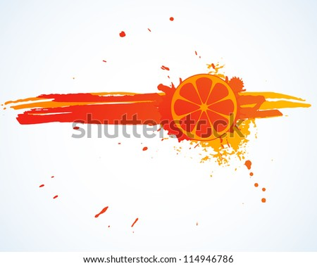 Orange juice splash isolated on white. Vector image.