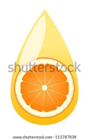 Orange juice splashing drop vector background concept - stock vector