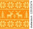 Orange knitted sweater with deer seamless pattern - stock vector
