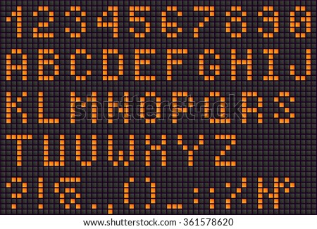 Orange LED digital letters for text, display font