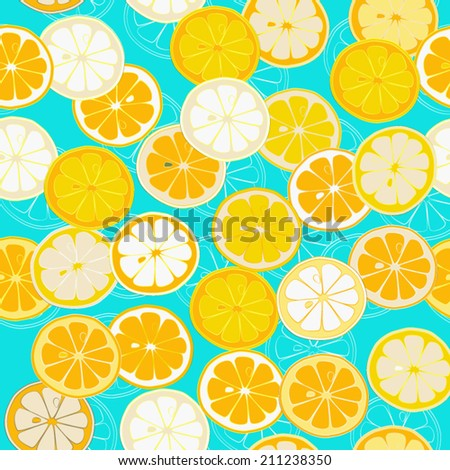 Orange Lemon Cheerful seamless pattern. Vector background. Use for textiles, pillow & interior decoration, wallpaper, web page background, surface textures, wrapping paper, food & cosmetics labeling. - stock vector
