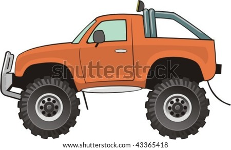 orange lifted car for bad roads - stock vector