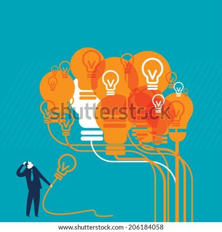 Orange Lightbulb Brain - stock vector