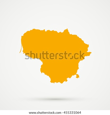 Orange Lithuania Map Illustration