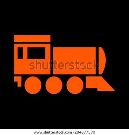 Orange Locomotive icon. Vector illustration on a black background - stock vector